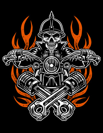 Illustration skull rider custom motorcycle, emblems, t-shirt design, labels, badges, prints, templates, Layered, Easy rider isolated on black background