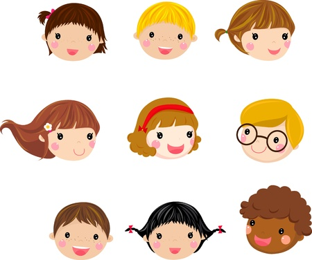 clip art draw: Kids Face Set