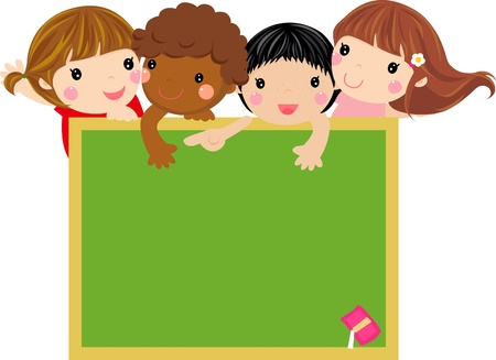 Cute kids with blackboard-illustration   Vector