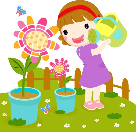 Little girl watering flower