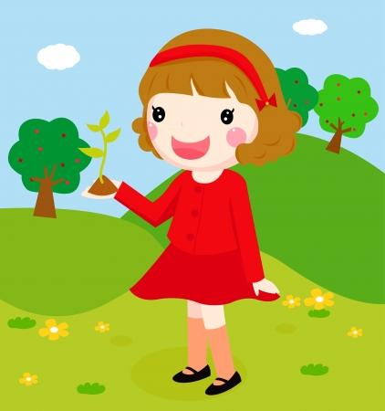 enten: Een schattig meisje met een boom Stock Illustratie