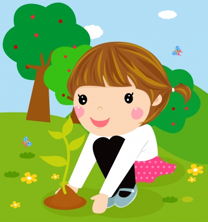 kids garden: Happy kid is planting small plant cartoon  Illustration