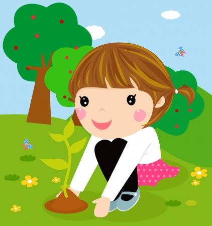 granja caricatura: Ni�o feliz es la plantaci�n de dibujos animados peque�a planta Vectores