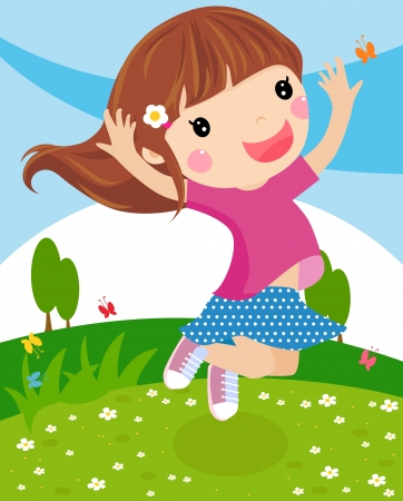 happy girl jumping Stock Vector - 14849930