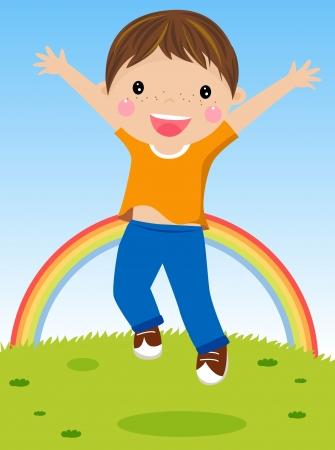 glädje: Illustration ung pojke hoppar av glädje