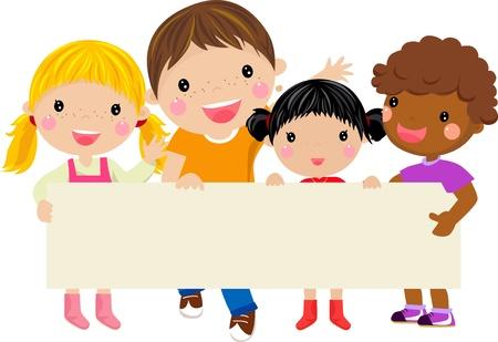 niños felices: Niños felices que sostienen una bandera arte-ilustración Vectores