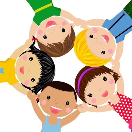 幸せな子供の手のまわりの図