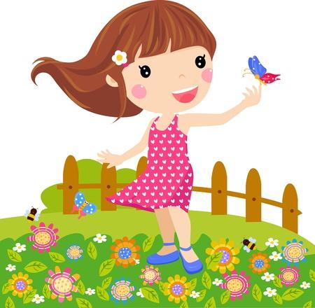 papillon enfant: Fille petite illustration et le papillon