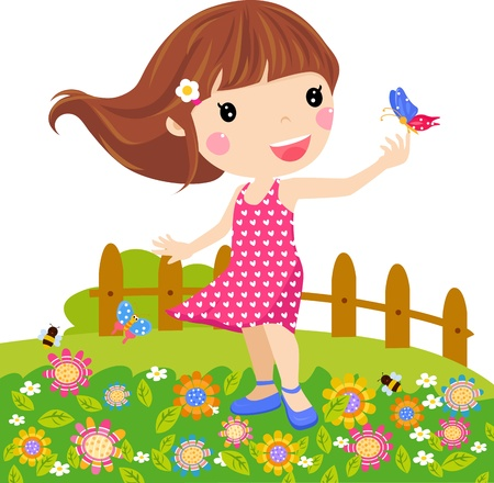 cartoon spring: Illustration little girl and butterfly