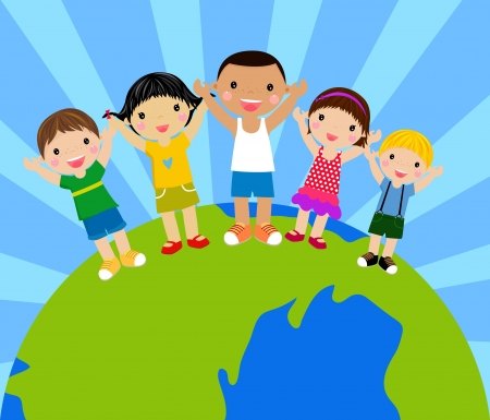 cartoon kids holding hands around a globe  Illustration