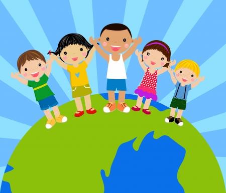 multicultureel: cartoon kinderen hand in hand rond een wereldbol Stock Illustratie