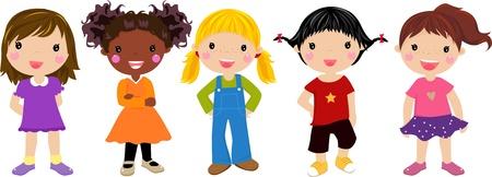 jovenes en grupo: Cinco chicas Vectores