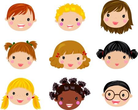 Kids Face Juego Ilustración de vector
