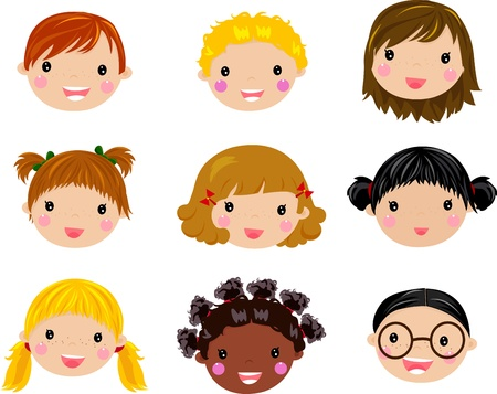 clip art draw: Kids Face Set