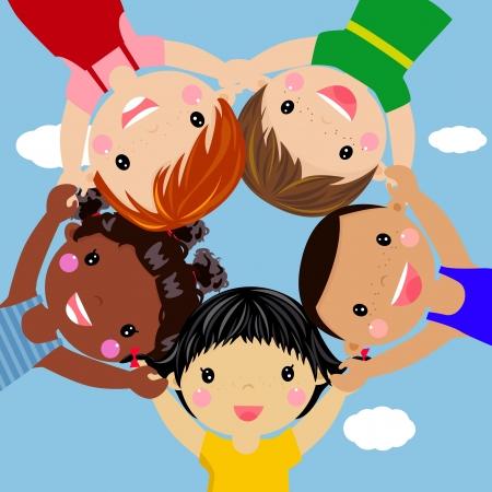 ni�os jugando en la escuela: Ni�os felices mano en mano alrededor de ilustraci�n