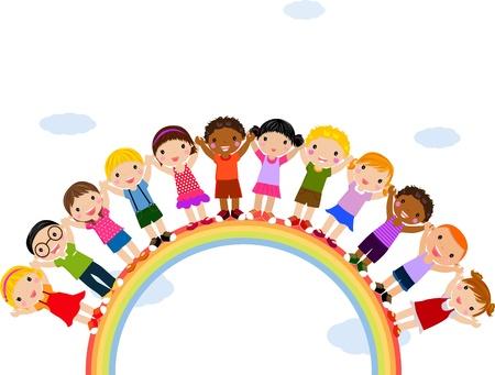 Ilustración de los niños que se coloca encima de un arco iris Foto de archivo - 14905540