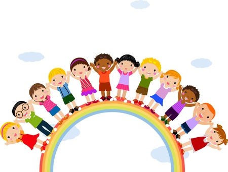 manos unidas: Ilustraci�n de los ni�os que se coloca encima de un arco iris
