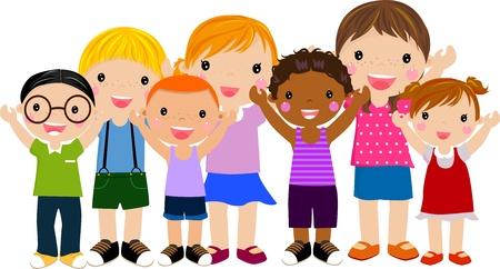 dessin enfants: groupe d'enfants qui s'amusent Illustration