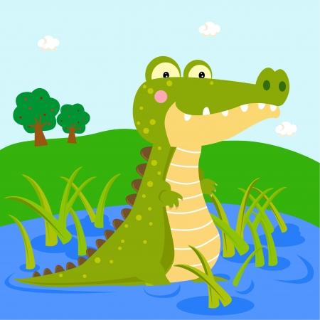 crocodile: crocodile on the river  Illustration