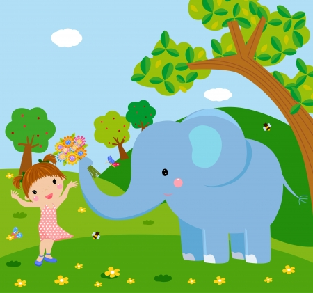 Stock Vector Illustration  a elephant holding flower to a cute girl  Vector