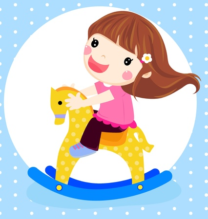 a dolly girl on rocking horse  Vector