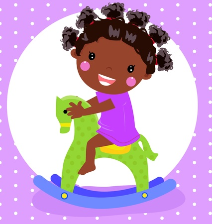 Vector illustration of a dolly girl on rocking horse  Vector