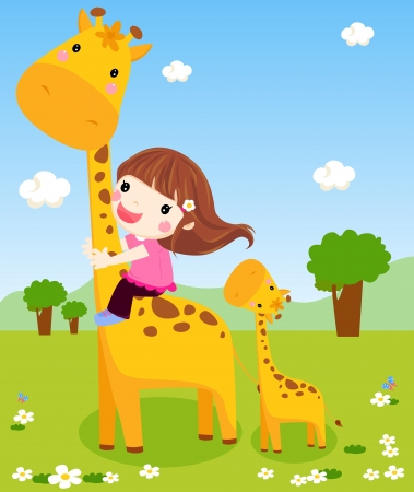 A little girl is sliding down a giraffe s neck  Illustration
