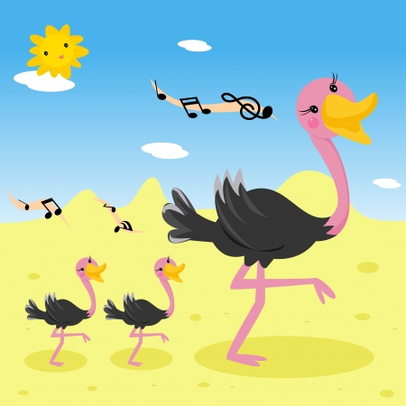 Ostrich family  Stock Vector - 19350522
