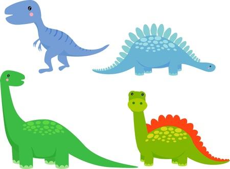 cute dinosaur: dinosaurio lindo conjunto de vectores Vectores