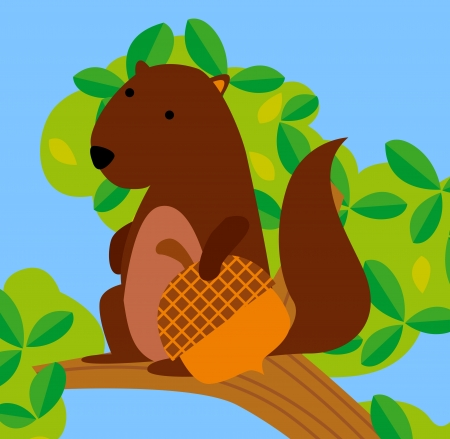 Illustration of funny cute Chipmunk with peanut  Vector