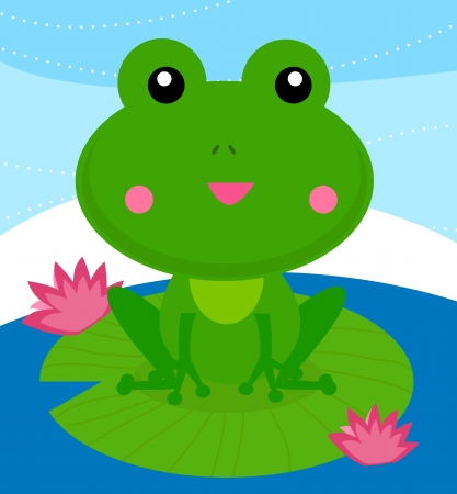 funny frog sitting on a lotus leaf  Vector