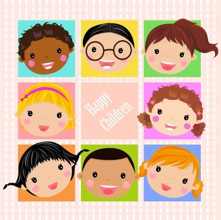 Kids Face Set Stock Vector - 14905559