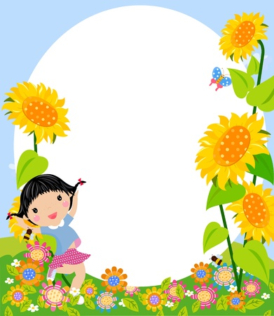 happy jumping girl and frame Stock Vector - 14905568
