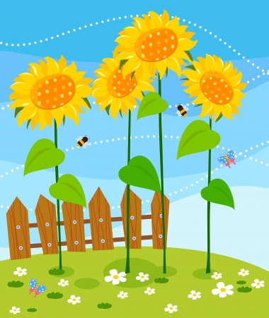 bee garden: wooden fence and sunflowers  Illustration