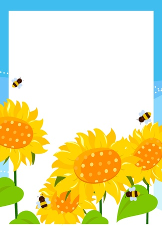 garden frame: A border or frame with large white daisies and polka dots