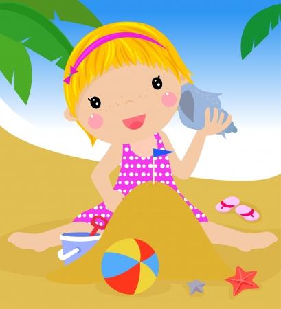 sandcastle: girl on beach