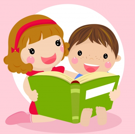 book reading: Vector illustration of kids reading a book