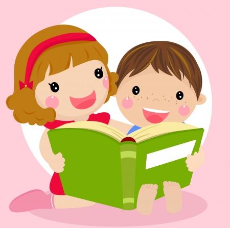 Vector illustration d'enfants lisant un livre