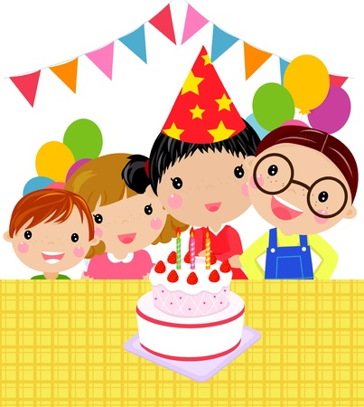 kids and cake  Vector