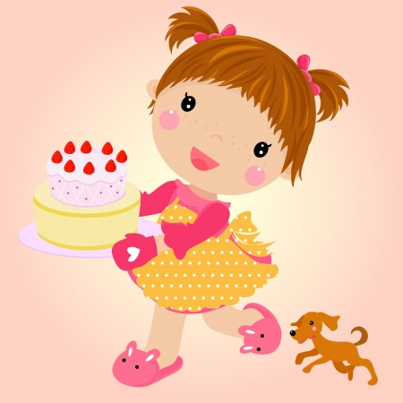 cartoon cake: Small girl with cake celebrating birthday  Vector Illustration