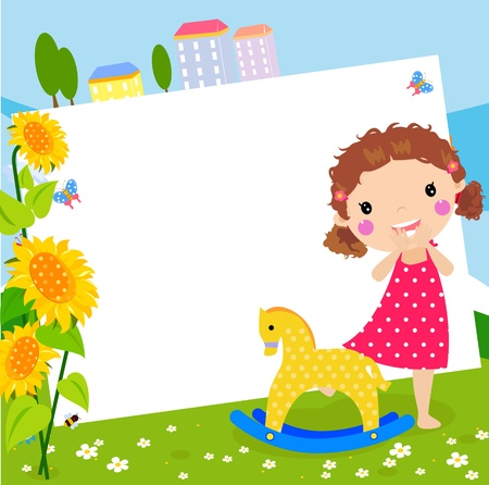 children painting: cute girl and frame