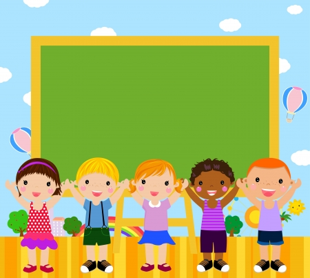 Cute five children and blackboard  Vector
