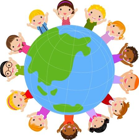 paix monde: orld enfants vecteur
