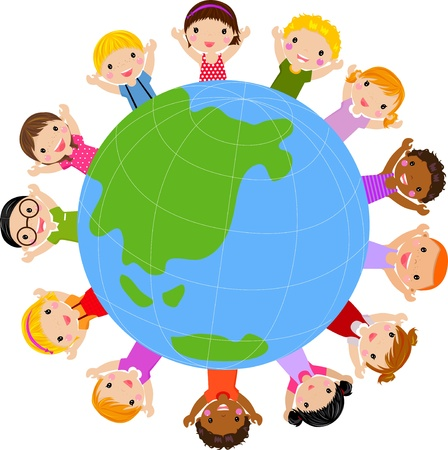 world group: orld kids vector