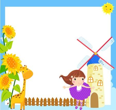 bee garden: Little girl and frame