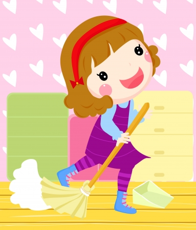 dirty room:  a girl cleaning a room