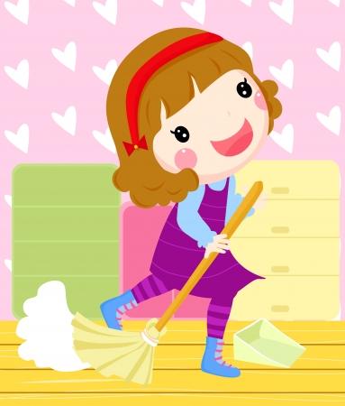 een meisje schoonmaken van een kamer