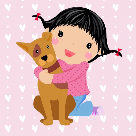 french girl: cute little girl and dog  Illustration