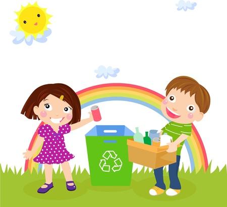 poubelle bleue: Recyclage gar�on et une fille Illustration