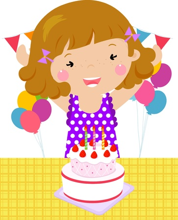 hair clip: Vector illustration of a child on a Birthday  Illustration
